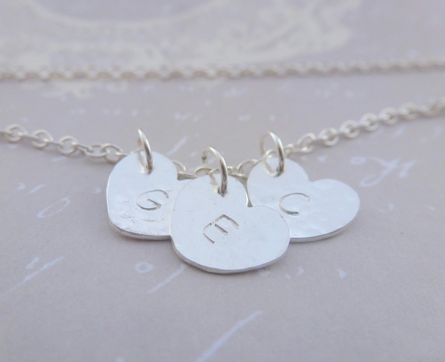 Personalised Silver Heart Charm Necklace Sterling Solid 925 Letter Name Initial