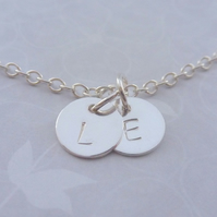 Personalised Silver Charm Necklace Solid Sterling 925 Disc Letter Initials Name