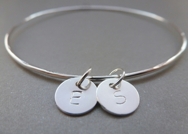 Personalised Silver Charm Bangle - Solid Sterling 925 Disc Letter Initials Word