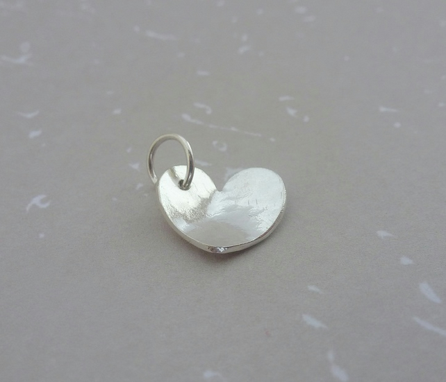 Silver Heart Charm - Sterling Solid 925 Handmade Heart Charm with Split Ring