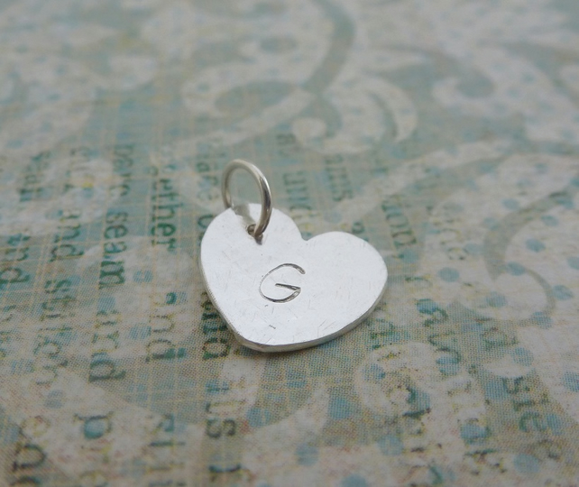 Silver Heart Charm - Sterling Solid 925 Letter Initial Personalised Split Ring