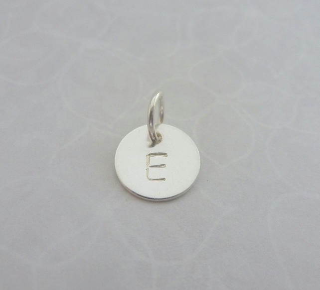 Personalised Silver Charm - Sterling 925 Disc Tag Letter Initial with Split Ring