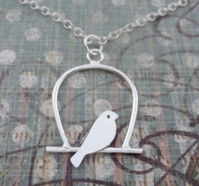 Silver Birdcage Necklace Sterling 925 Lovebird Bird Necklace Pendant Bridesmaid