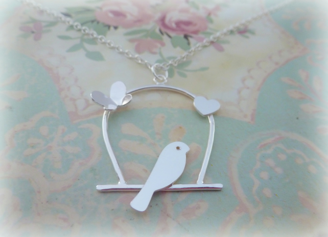 Silver Birdcage Necklace - Solid Sterling 925 Lovebird Bird Necklace Pendant