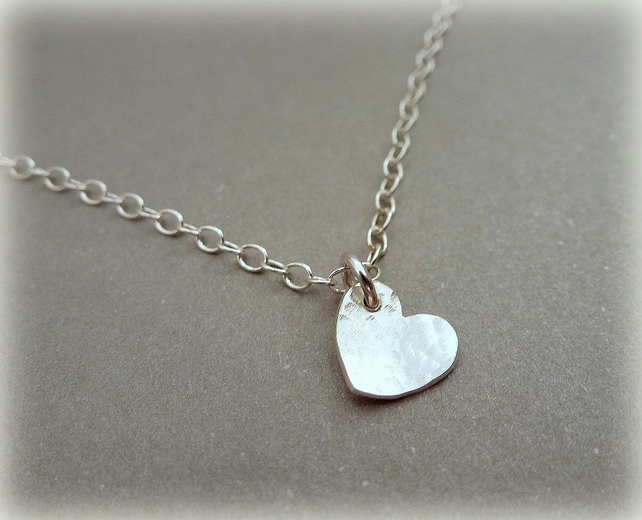 Silver Heart Necklace - Solid Sterling Tiny Small Heart Pendant Chain Handmade