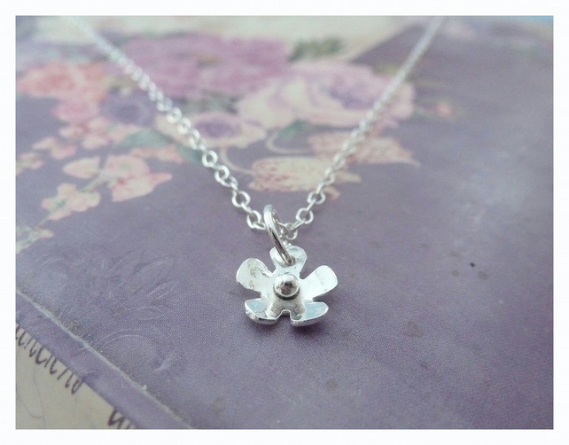 Silver Flower Necklace - Sterling 925 Tiny Small Daisy Pendant Charm Necklace