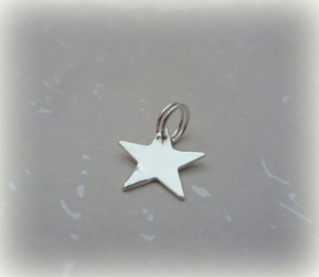 Silver Star Charm - Sterling Solid 925 Handmade Star Charm with Split Ring