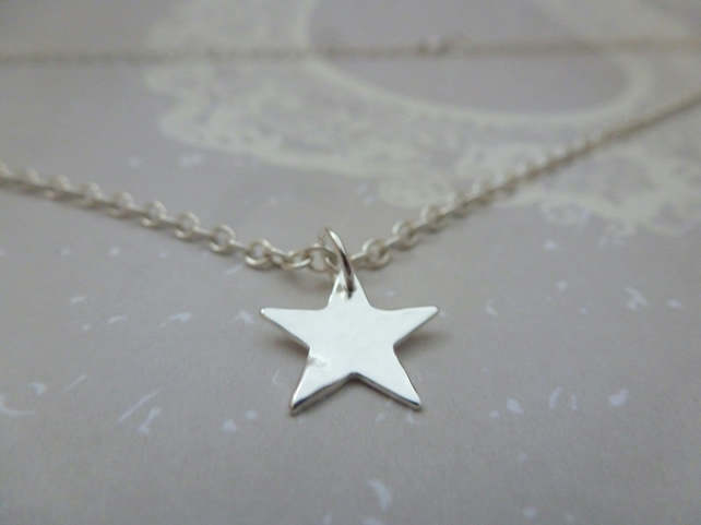 Silver Star Necklace - Solid Sterling Silver 925 Star Pendant Chain Handmade
