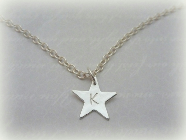 Personalised Silver Star Charm Necklace - Solid Sterling Silver 925 Letter Name