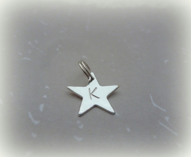 Personalised Silver Star Charm - Sterling Solid Letter Initial Charm Split Ring