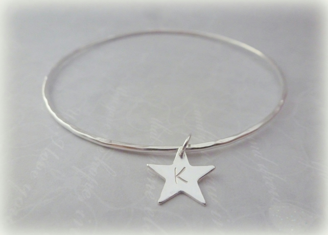 Personalised Silver Star Charm Bangle - Sterling Silver Solid Hammered Bracelet