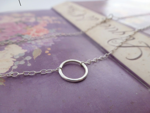 Silver Karma Necklace - Sterling 925 Eternity Infinity Friendship Circle Chain