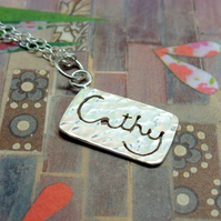 Silver Name Necklace - Sterling Personalised Word Message Charm 6 - 10 Letters