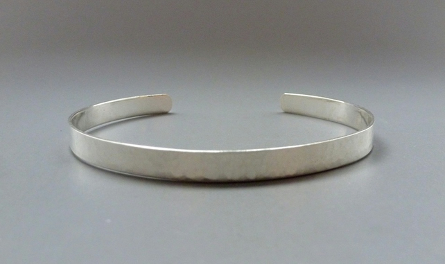 Silver Slim Cuff Bangle - Classic Sterling 925 Open Hammered Textured Bracelet