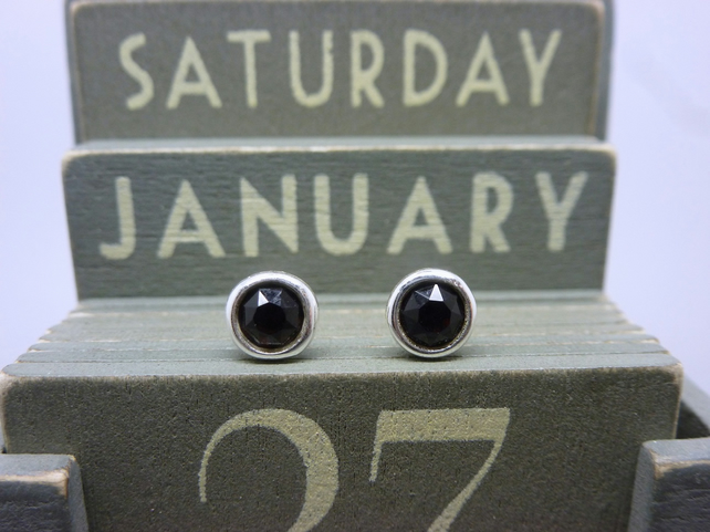 Silver Birthstone Ear Studs - January Sterling Garnet Deep Red Swarovski Crystal