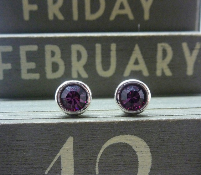 Silver Birthstone Ear Studs February Amethyst Purple Swarovski Crystal Earrings