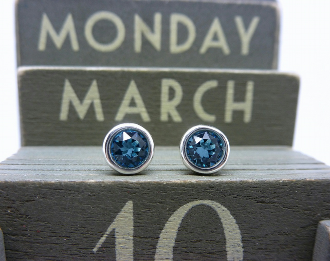 Silver Birthstone Ear Studs - March Sterling Aquamarine Blue Swarovski Crystals