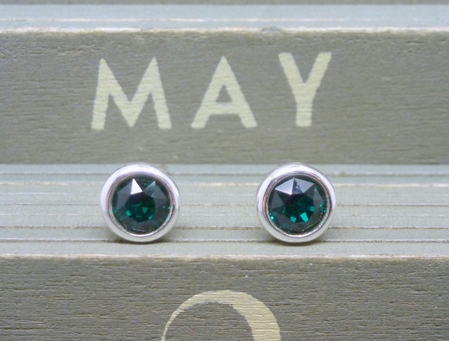 Silver Birthstone Ear Studs - May Emerald Green Swarovski Crystal Sterling 925