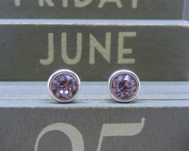 Silver Birthstone Ear Studs - June Light Amethyst Purple Swarovski Crystal 925