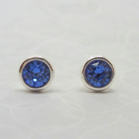 Silver Birthstone Ear Studs - September Sapphire Blue Swarovski Crystal Earrings