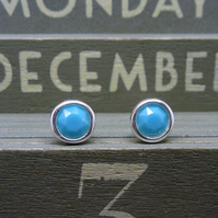 Silver Birthstone Ear Studs - December Turquoise Blue Green Swarovski Crystals