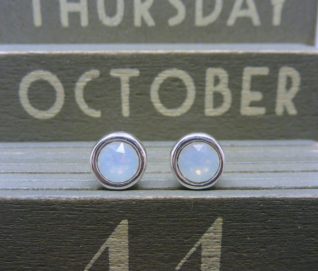 Silver Birthstone Ear Studs - October White Opal Swarovski Crystal Earrings 925