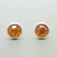 Silver Birthstone Ear Studs November Topaz Orange Swarovski Crystal Sterling 925