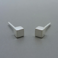 Silver Cube Earrings - Tiny Solid Sterling 925 Small Cube Square Ear Studs