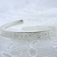 Personalised Childs Bracelet - Solid Sterling Silver 925 Flower Girl Bridesmaid