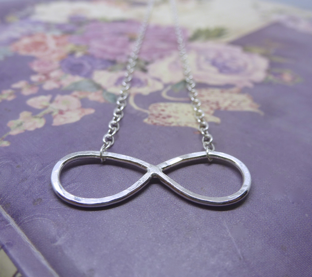 Silver Infinity Necklace - Solid Sterling 925 Eternity Karma Forever Friendship