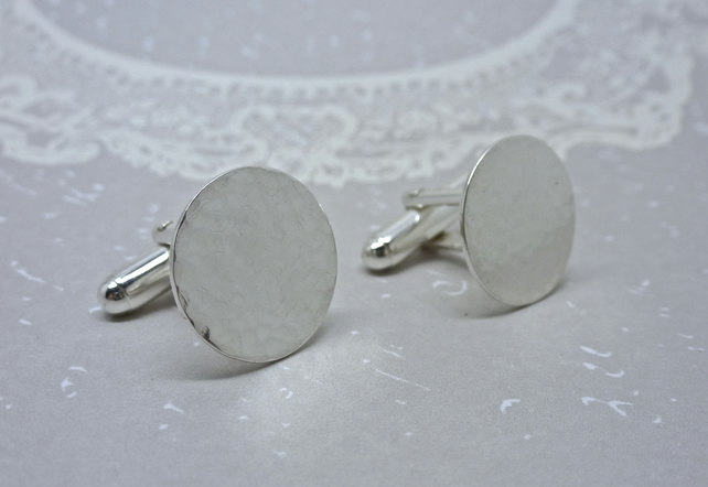 Mens Silver Cuff Links - Gents Round Circle Solid Sterling 925 Cufflinks Pair
