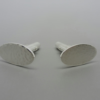 Mens Silver Cuff Links - Gents Oval Solid Sterling Silver 925 Cufflinks Pair