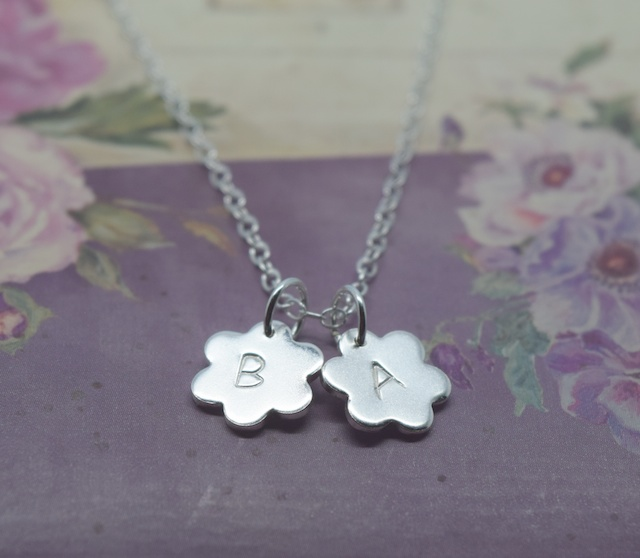 Personalised Silver Flower Charm Necklace Solid Sterling 925 Daisy Initials