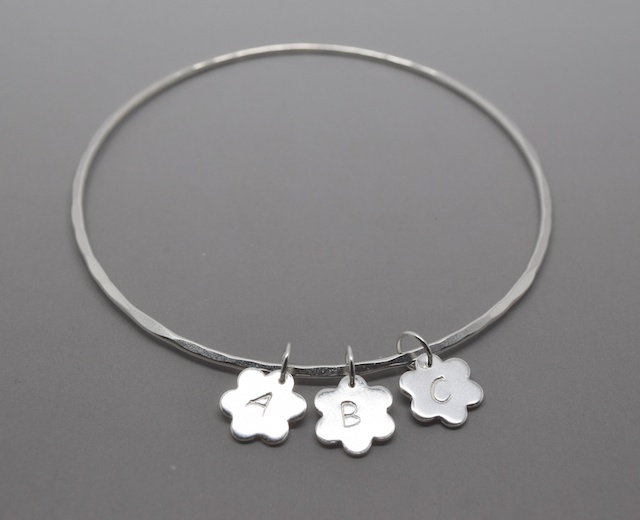 Personalised Silver Flower Charm Bangle Bracelet Daisy Letter Solid Sterling 925