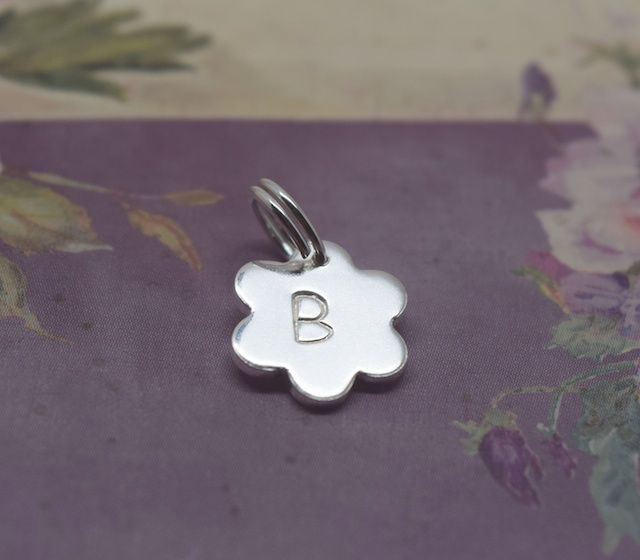 Silver Flower Charm - Sterling 925 Daisy Letter Initial Personalised Split Ring