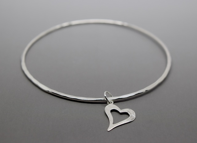 Silver Heart Charm Bangle - Sterling 925 Hammered Open Cut Out Heart Bracelet