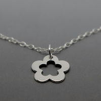 Silver Flower Necklace - Solid Sterling 925 Daisy Pendant Charm Necklace Chain