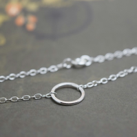Silver Karma Bracelet - Sterling Eternity Infinity Ring Circle Friendship Chain