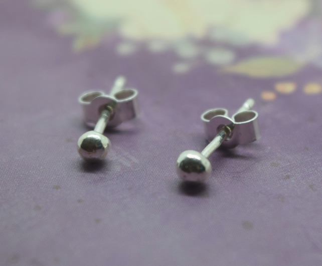 Tiny Silver Ball Studs - Sterling 925 Solid 2mm Small Second Hole Dot Earrings