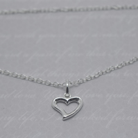 Silver Heart Necklace - Solid Sterling 925 Open Heart Cut Out Pendant Charm