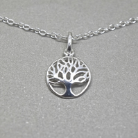 Silver Tree of Life Necklace - Solid Sterling Silver 925 Pendant Charm Chain