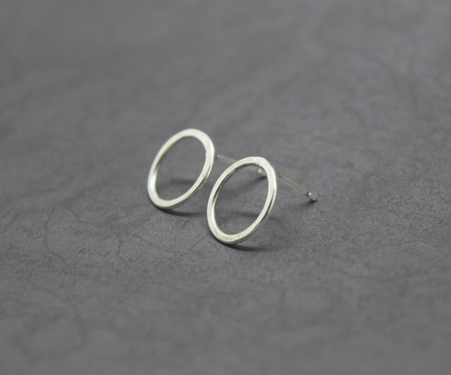 Silver Karma Earrings - Sterling 925 Eternity Infinity Circle Ring Studs Hoops