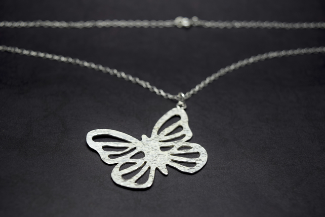 Silver Butterfly Necklace - Solid Sterling 925 Large Filigree Pendant Handmade