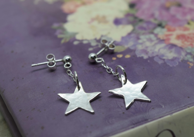 Silver Star Earrings - Solid Sterling 925 Star & Chain Long Drop Studs Handmade