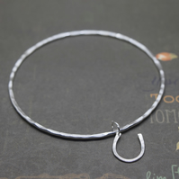 Silver Horseshoe Charm Bangle - Solid Sterling 925 Lucky Horse Shoe Bracelet