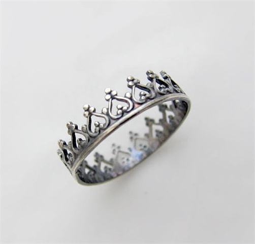 Silver Crown Ring - Sterling 925 Queen Princess Stacking Rings Black Oxidised