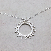 Silver Crown Necklace - Sterling Silver 925 Queen Princess Lace Circle Sun