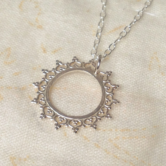 Silver Solstice Necklace - Sterling 925 Sun Sunshine Lace Circle Queen Crown