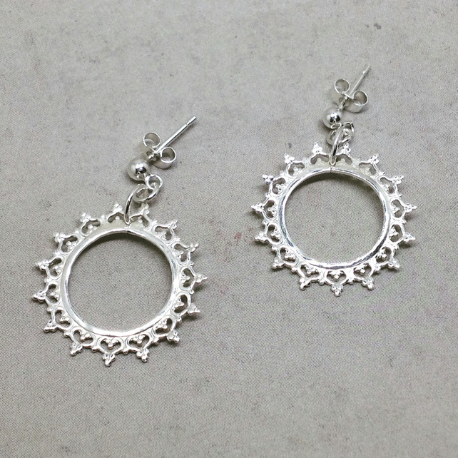 Silver Solstice Earrings - Sterling Sun Summer Sunshine Lace Circle Crown Queen