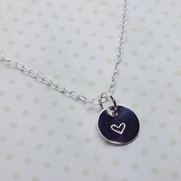 Silver Heart Tag Necklace - Solid Sterling Silver 925 Heart Disc Charm Pendant